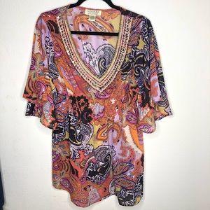 🦋3/$15 Orange Nouveau Collection Blouse Size XL